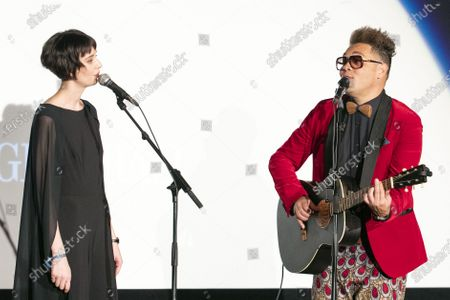 Stock Picture of Swiss actress Steffi Friis and Swiss singer-songwriter and actor Marc Sway, from left, perform during the 16th Zurich Film Festival (ZFF) in Zurich, Switzerland, 28 September 2020.