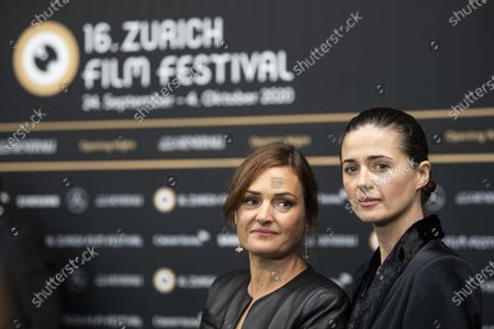 Stock Image of Swiss film director Bettina Oberli, left, and actress Agnieszka Grochowska pose on the Green Carpet for the Opening Night of the 16th Zurich Film Festival (ZFF) in Zurich, Switzerland,  24 September 2020.