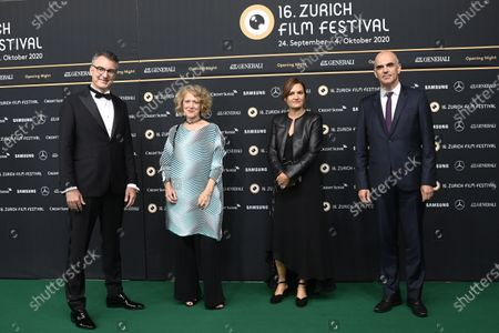 Federal councillor Alain Berset, Swiss film director Bettina Oberli, Corine Mauch, mayor of Zurich, and festival director Christian Jungen, from right, pose on the Green Carpet for the Opening Night of the 16th Zurich Film Festival (ZFF) in Zurich, Switzerland, 24 September 2020.