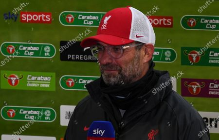 Jurgen Klopp manager of Liverpool is interviewed before kick off