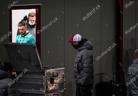 Jurgen Klopp manager of Liverpool stands outside the temporary dressing room of the away team