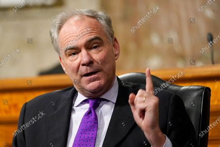 United States Senator Tim Kaine (Democrat of Virginia), speaks during a Senate Foreign Relations Committee hearing on Capitol Hill in Washington,, on U.S. policy in a changing Middle East.