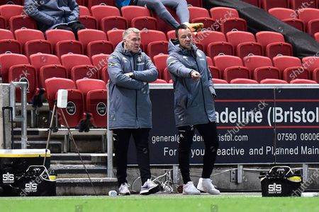 Aston Villa manager Dean Smith with John Terry during the EFL Cup match between Bristol City and Aston Villa at Ashton Gate, Bristol