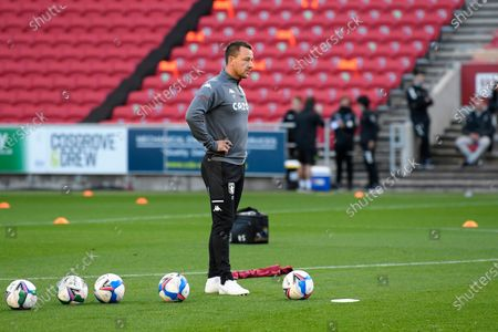 Aston Villa assistant manager John Terry overseeing the warm up ahead of the EFL Cup match between Bristol City and Aston Villa at Ashton Gate, Bristol