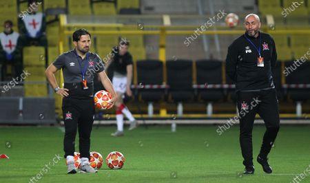 Sheriff Tiraspol vs Dundalk. Dundalk assistant coach Giuseppe Rossi and manager Filippo Giovagnoli before the game