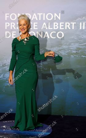 Actress Helen Mirren poses on the red carpet ahead of the 2020 Monte-Carlo Gala for Planetary Health in Monaco, 24 September 2020.
