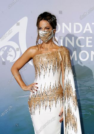 Actor Kate Beckinsale poses on the red carpet ahead of the 2020 Monte-Carlo Gala for Planetary Health in Monaco, 24 September 2020.