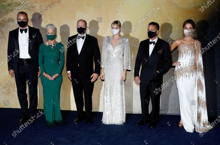 (L-R) Milutin Gatsby, actor Helen Mirren, Prince Albert II of Monaco, Princess Charlene of Monaco, actor Andy Garcia and actor Kate Beckinsale pose on the red carpet ahead of the 2020 Monte-Carlo Gala for Planetary Health in Monaco, 24 September 2020.