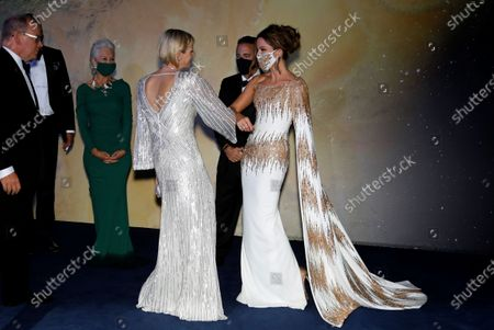 Princess Charlene of Monaco speaks with actor Kate Beckinsale ahead of the 2020 Monte-Carlo Gala for Planetary Health in Monaco, 24 September 2020.