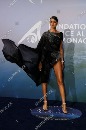 Model Cindy Bruna poses on the red carpet ahead of the 2020 Monte-Carlo Gala for Planetary Health in Monaco, 24 September 2020.
