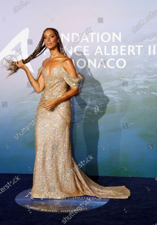 Singer Leona Lewis poses on the red carpet ahead of the 2020 Monte-Carlo Gala for Planetary Health in Monaco, 24 September 2020.