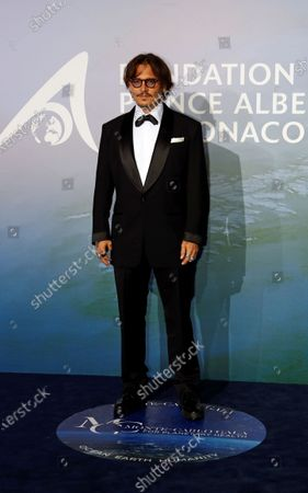 Actor and producer Johnny Depp poses on the red carpet ahead of the 2020 Monte-Carlo Gala for Planetary Health in Monaco, 24 September 2020.