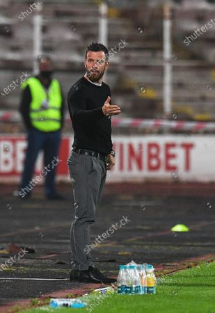 B36 Torshavn's head coach Jacub A. Borg reacts during the UEFA Europa League third qualifying round soccer match between CSKA Sofia and B36 Torshavn in Sofia, Bulgaria, 24 September 2020.