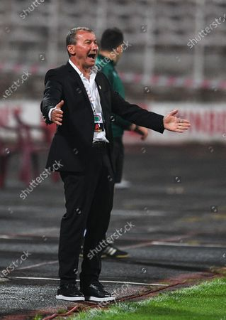 CSKA Sofia's head coach Stamen Belchev reacts during the UEFA Europa League third qualifying round soccer match between CSKA Sofia and B36 Torshavn in Sofia, Bulgaria, 24 September 2020.