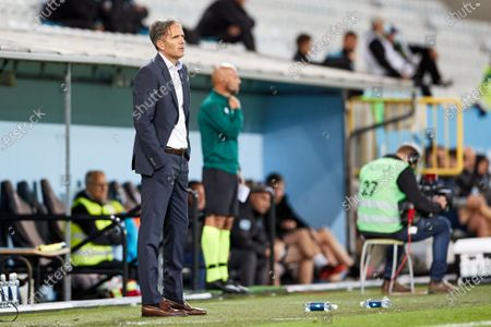 Lokomotiva's head coach Goran Tomic looks on during the UEFA Europe League third qualifying round soccer match between Malmo FF and NK Lokomotiva Zagreb at Malmo New Stadium, in Malmo, Sweden, 24 September 2020.