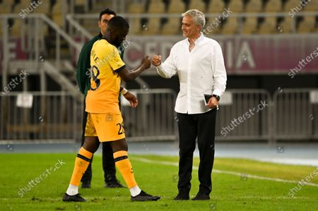 Tottenham Hotspur's head coach Jose Mourinho (R) greets Tanguy Ndombele of Tottenham (L) after the UEFA Europa League third round qualifying soccer match between Shkendija and Tottenham Hotspur in Skopje, North Macedonia, 24 September 2020.