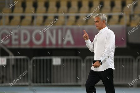 Tottenham Hotspur's head coach Jose Mourinho reacts after the UEFA Europa League third round qualifying soccer match between Shkendija and Tottenham Hotspur in Skopje, North Macedonia, 24 September 2020.