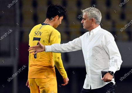 Tottenham Hotspur's head coach Jose Mourinho (R) and Son Heung-min of Tottenham (L) after the UEFA Europa League third round qualifying soccer match between Shkendija and Tottenham Hotspur in Skopje, North Macedonia, 24 September 2020.