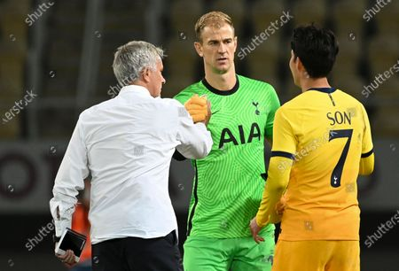 Tottenham Hotspur's head coach Jose Mourinho (L) greets his players Joe Hart (C) and Son Heung-min (R) after the UEFA Europa League third round qualifying soccer match between Shkendija and Tottenham Hotspur in Skopje, North Macedonia, 24 September 2020.