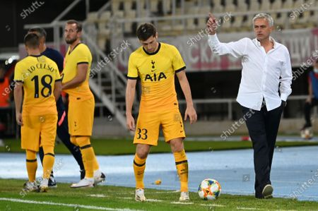 Tottenham Hotspur's head coach Jose Mourinho (R) reacts during the UEFA Europa League third round qualifying soccer match between Shkendija and Tottenham Hotspur in Skopje, North Macedonia, 24 September 2020.