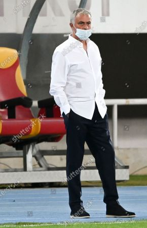 Tottenham Hotspur's head coach Jose Mourinho wears a face protective mask prior to the UEFA Europa League third round qualifying soccer match between Shkendija and Tottenham Hotspur in Skopje, North Macedonia, 24 September 2020.