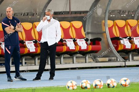 Tottenham Hotspur's head coach Jose Mourinho (R) prior to the UEFA Europa League third round qualifying soccer match between Shkendija and Tottenham Hotspur in Skopje, North Macedonia, 24 September 2020.