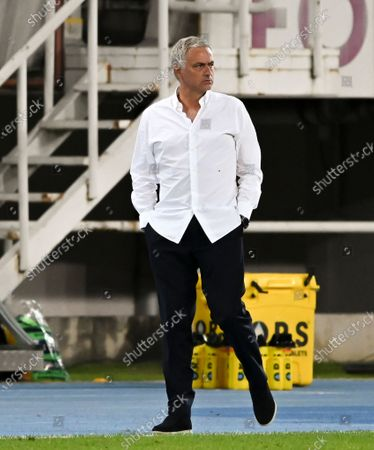 Tottenham Hotspur's head coach Jose Mourinho reacts during the UEFA Europa League third round qualifying soccer match between Shkendija and Tottenham Hotspur in Skopje, North Macedonia, 24 September 2020.