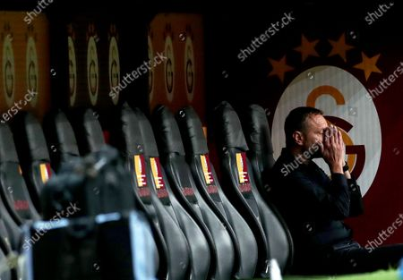 Hajduk Split's head coach Hari Vukas prays before the UEFA Europa League third qualifying round soccer match between Galatasaray and Hajduk Split in Istanbul, Turkey, 24 September 2020.