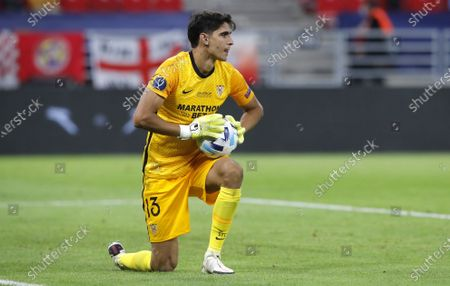 Goalkeeper Yassine Bounou of Sevilla during the UEFA Super Cup final between Bayern Munich and Sevilla at the Puskas Arena in Budapest, Hungary, 24 September 2020.