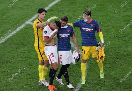 (L-R) Yassine Bounou, Youssef En-Nesyri, Sergi Gomez, Javi Diaz of Sevilla react after the UEFA Super Cup final between Bayern Munich and Sevilla FC at the Puskas Arena in Budapest, Hungary, 24 September 2020.
