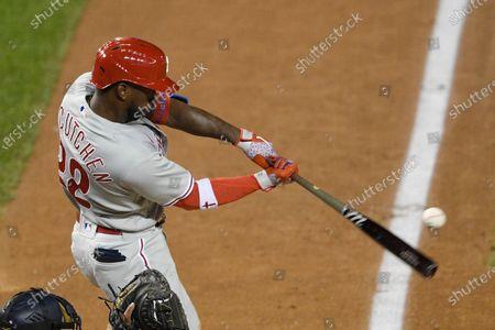 Philadelphia Phillies' Andrew McCutchen bats during a baseball game against the Washington Nationals, in Washington