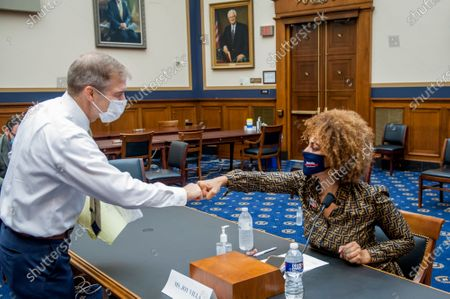Joy Villa, Recording Artist, Actor, and Author is greeted by United States Representative Jim Jordan (Republican of Ohio), as she appears before a House Committee on the Judiciary hearing Diversity in America: The Representation of People of Color in the Media in the Rayburn House Office Building on Capitol Hill in Washington, DC., Thursday, September 24, 2020.