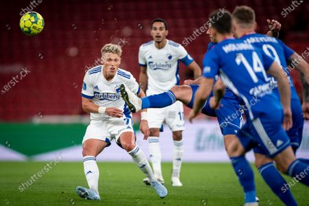 Stock Picture of FC Copenhagen's Viktor Fischer (L) in action during the UEFA Europa League third round qualifying soccer match between FCK Copenhagen and Piast Gliwice in Copenhagen, Denmark, 24 September 2020.