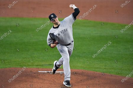 New York Yankees starting pitcher Jordan Montgomery throws to a Toronto Blue Jays batter during the first inning of a baseball game in Buffalo, N.Y