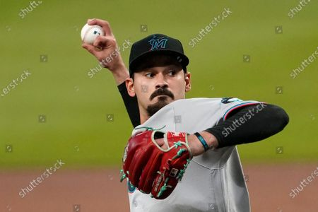 Miami Marlins starting pitcher Pablo Lopez works against the Atlanta Braves during the first inning of a baseball game, in Atlanta