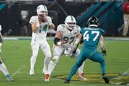 Miami Dolphins quarterback Ryan Fitzpatrick (14) looks for a receiver as he takes a snap during the first half of an NFL football game against the Jacksonville Jaguars, in Jacksonville, Fla