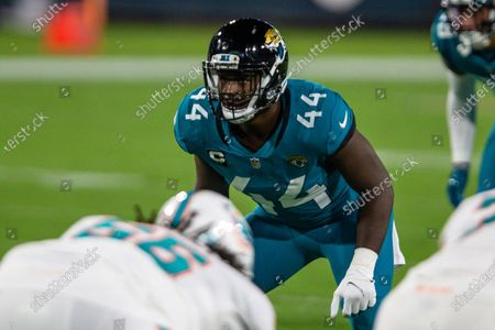 Jacksonville Jaguars outside linebacker Myles Jack (44) lines up against the Miami Dolphins during the first half of an NFL football game, in Jacksonville, Fla