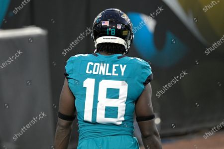 Jacksonville Jaguars wide receiver Chris Conley (18) displays the name of Rayshard Brooks on the back of his helmet during warmups before an NFL football game against the Miami Dolphins, in Jacksonville, Fla