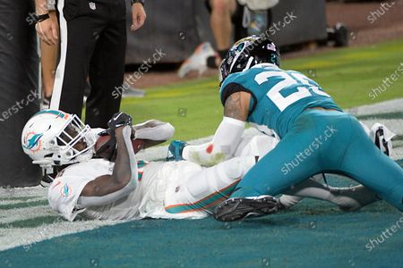 Stock Photo of Miami Dolphins wide receiver Preston Williams, left, catches a pass in the end zone for a touchdown as Jacksonville Jaguars strong safety Josh Jones (29) tries to defend during the first half of an NFL football game, in Jacksonville, Fla