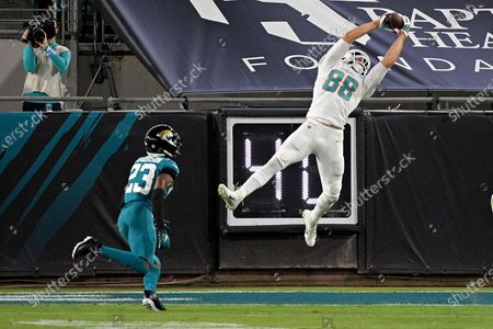 Miami Dolphins tight end Mike Gesicki (88) makes a reception in front of Jacksonville Jaguars cornerback C.J. Henderson (23) during the first half of an NFL football game, in Jacksonville, Fla