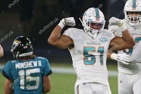 Miami Dolphins outside linebacker Kamu Grugier-Hill (51) celebrates after sacking Jacksonville Jaguars quarterback Gardner Minshew (15) during the first half of an NFL football game, in Jacksonville, Fla