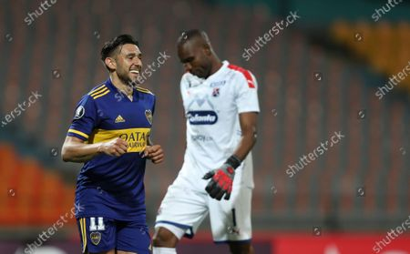 Eduardo Salvio of Argentina's Boca Juniors celebrates scoring his side's first goal against Colombia's Independiente Medellin during a Copa Libertadores soccer match in Medellin, Colombia