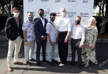 Jordan Belfi, Director Youssef Delara, Shane Paul McGhie, Krystian Alexander Lyttle, Matthew Modine, Producer Andrew Sugerman and Anne-Marie Mackay at the 'FOSTER BOY' Los Angeles Premiere at the Sony Picture Drive-In Experience