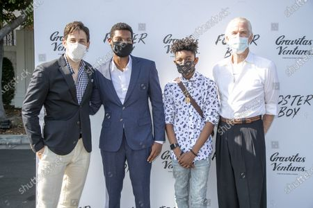 Stock Picture of Jordan Belfi, Shane Paul McGhie, Krystian Alexander Lyttle and Matthew Modine at the 'FOSTER BOY' Los Angeles Premiere at the Sony Picture Drive-In Experience