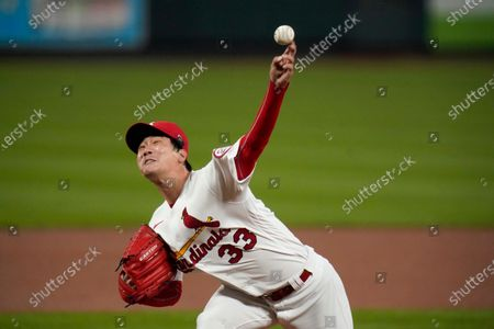 St. Louis Cardinals starting pitcher Kwang-Hyun Kim throws during the first inning of a baseball game against the Milwaukee Brewers, in St. Louis
