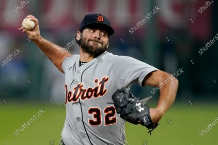 Stock Picture of Detroit Tigers starting pitcher Michael Fulmer throws during the first inning of the team's baseball game against the Kansas City Royals, in Kansas City, Mo