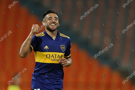 Eduardo Salvio of Boca Juniors celebrates after scoring during the Copa Libertadores soccer match between Deportivo Independiente Medellin and Boca Juniors at Atanasio Girardot stadium in Medellin, Colombia, 24 September 2020.