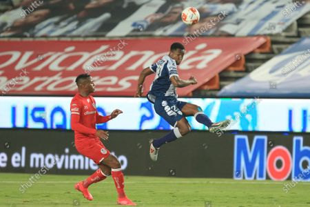 Stock Picture of Oscar Murillo (R) of Pachuca in action against Michael Estrada (L) of Toluca during the Liga MX Apertura Tournament soccer match between Pachuca and Toluca at Hidalgo Stadium in Pachuca, Mexico, 24 September 2020.