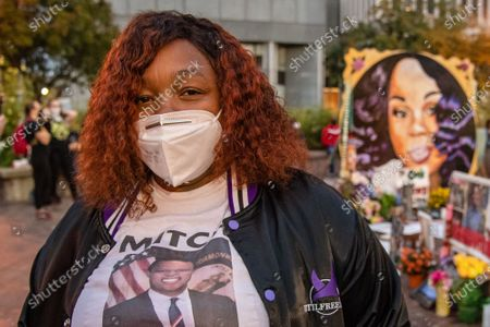Tamika Palmer poses for a photo in front of a memorial of her daughter Breonna Taylor in 'Injustice Square' in downtown Louisville on September 24, 2020 in Louisville,Ky.  Protests have continued after the Kentucky grand jury indicted one of the three officers involved in the killing of Breonna Taylor. Breonna Taylor, was fatally shot by LMPD officers during a no-knock warrant at her apartment on March 13, 2020 in Louisville,Ky.