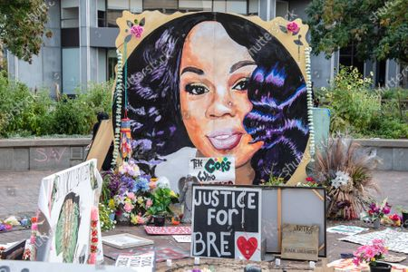 A memorial for Breonna Taylor is seen in 'Injustice Square' on September 24, 2020 in Louisville,Ky.  Protests have continued after the Kentucky grand jury indicted one of the three officers involved in the killing of Breonna Taylor. Breonna Taylor, was fatally shot by LMPD officers during a no-knock warrant at her apartment on March 13, 2020 in Louisville,Ky.